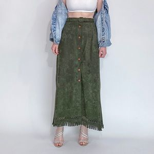 Vintage green corduroy button down skirt with belt